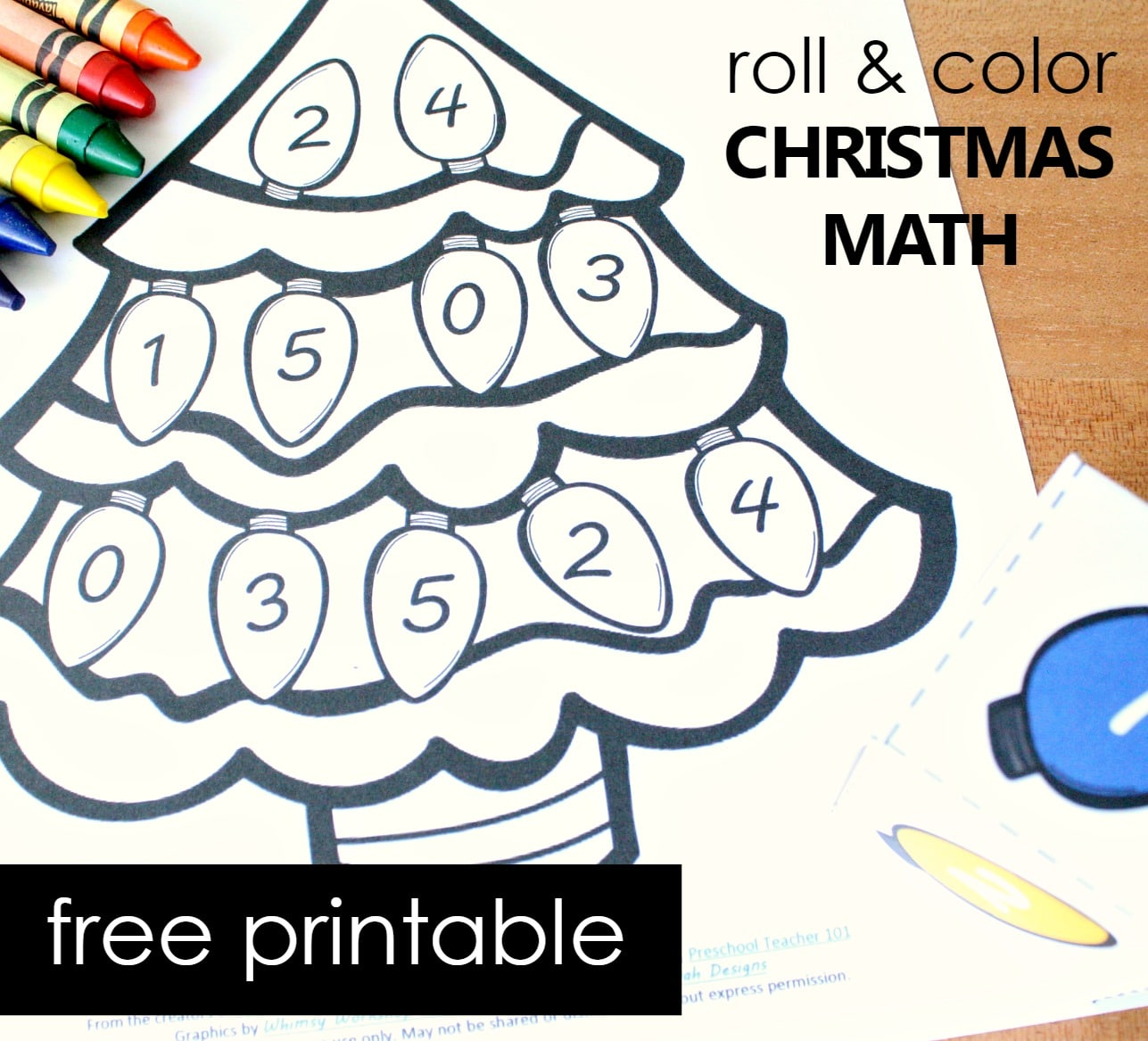 Roll and Color Hands-on Christmas Math Freebie