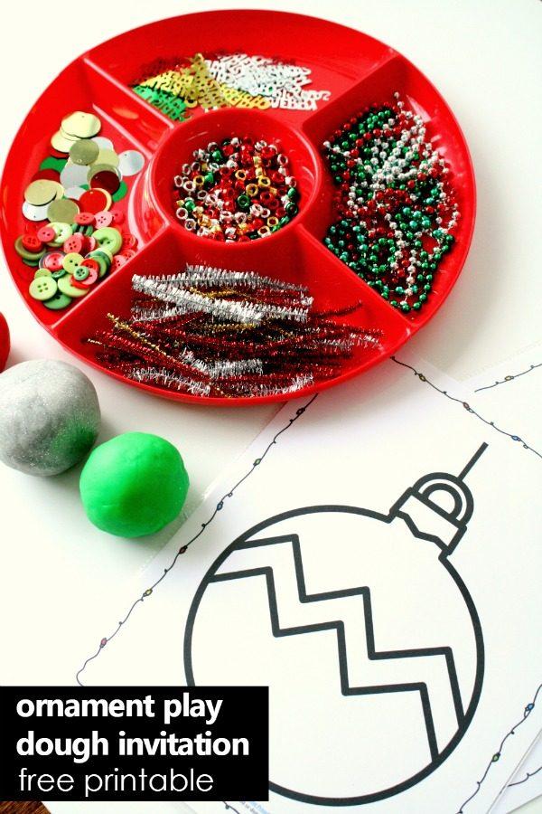 Christmas Tree Ornament Play Dough Invitation-Fun Christmas activity for kids with free printable play dough mats