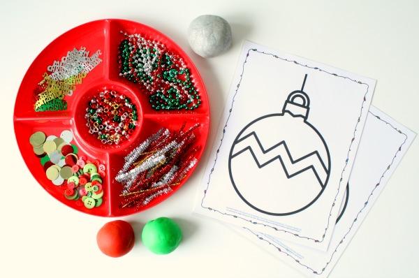 Christmas Play Dough Mats and Sensory Invitation