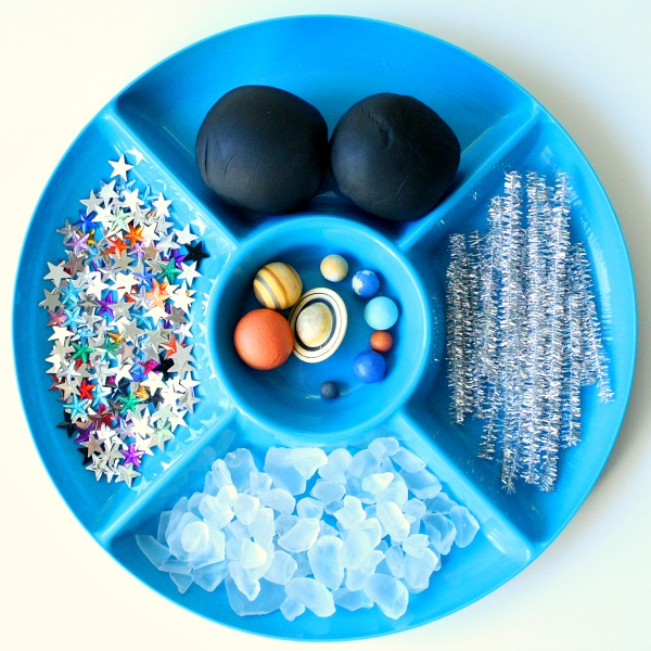 Outer space play dough invitation fantastic fun learning for Outer space material