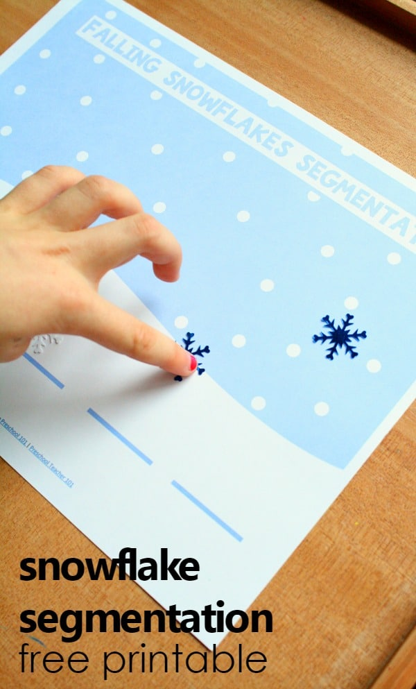Snowflake Segmentation Mat-Free Printable Winter Reading Phonemic Awareness Activity for Preschool and Kindergarten