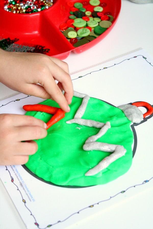 Christmas Play Dough with free printable Christmas tree ornament play dough mats