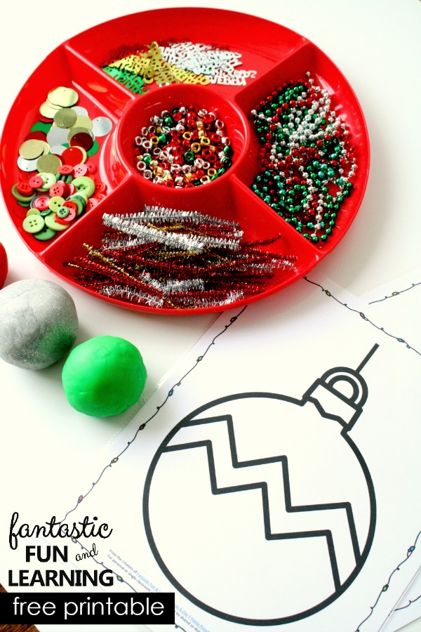 Christmas Tree Ornament Play Dough Tray with Free Printable Ornament Mats