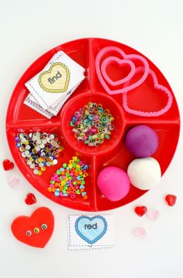 Candy Heart Spelling Valentine's Day Play Dough and Free Printable Sight Word Cards