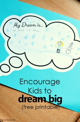 Encourage Kids to Dream Big -free printable response sheet