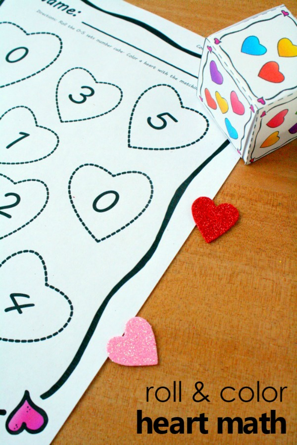 Roll And Color Heart Math Counting Activity For Preschool And Kindergarten  With Free Printable. Hands