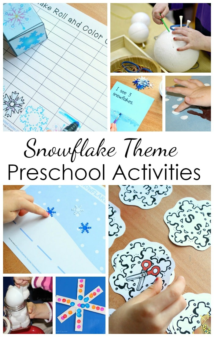Snowflake Theme Preschool Activities-Hands-on learning activities for a week of playful preschool learning at home or in the classroom