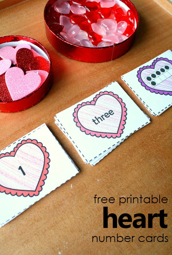 free printable heart number cards for Valentine's math activities-Great for exploring number sense concepts in preschool and kindergarten
