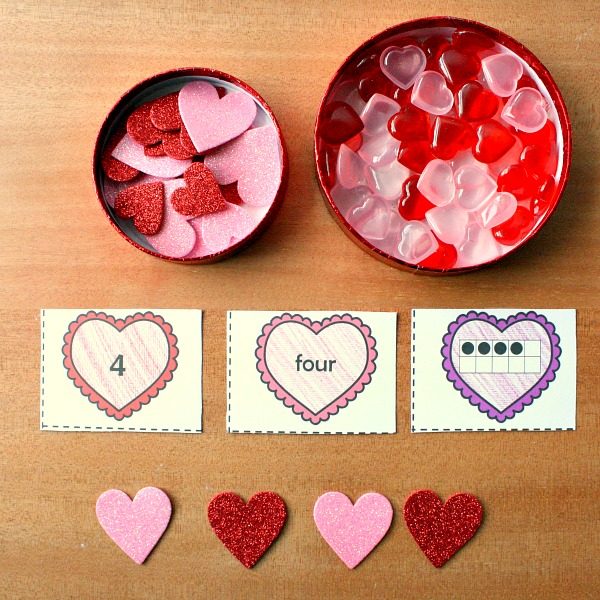 Heart Number Cards for Preschool and Kindergarten Valentine's Day Math