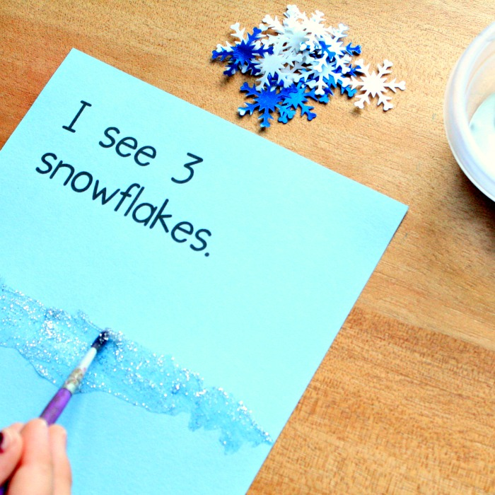 math art and reading for snowflake theme