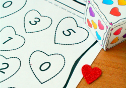 Valentine Math Roll and Color Activity