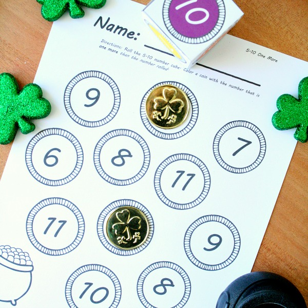 St. Patrick's Day Roll and Color Math for Kindergarten