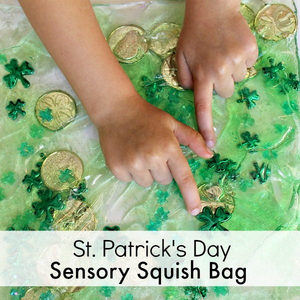 Squish Bag for St. Patrick's Day Sensory Play-Great idea for a St. Patrick's Day Sensory Bag!