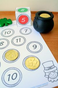Roll and Color St. Patrick's Day Math for Preschool, Kindergarten, and First Grade. Includes free one more number sense activity.