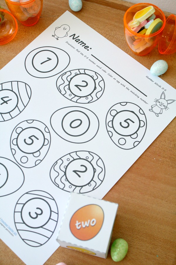 Easter Egg Roll and Cover Math Game for Preschool, Kindergarten and First Grade