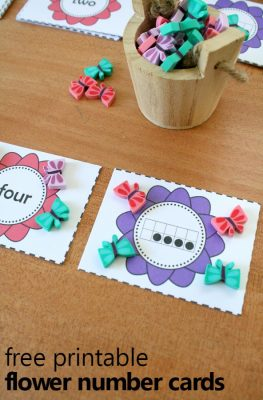 Free Printable Flower Theme Number Cards