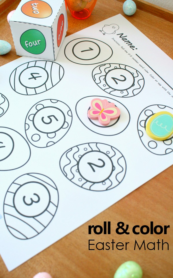 Roll and Color Easter Math Games-Hands-on Easter activities to practice counting, number words, addition and more