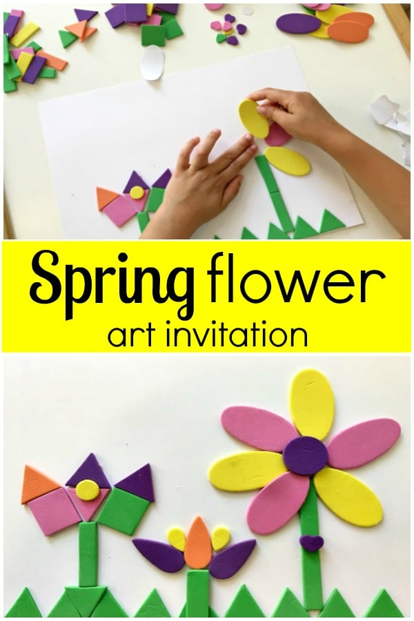 Spring flower art invitation for preschool flower theme and spring activity for kids