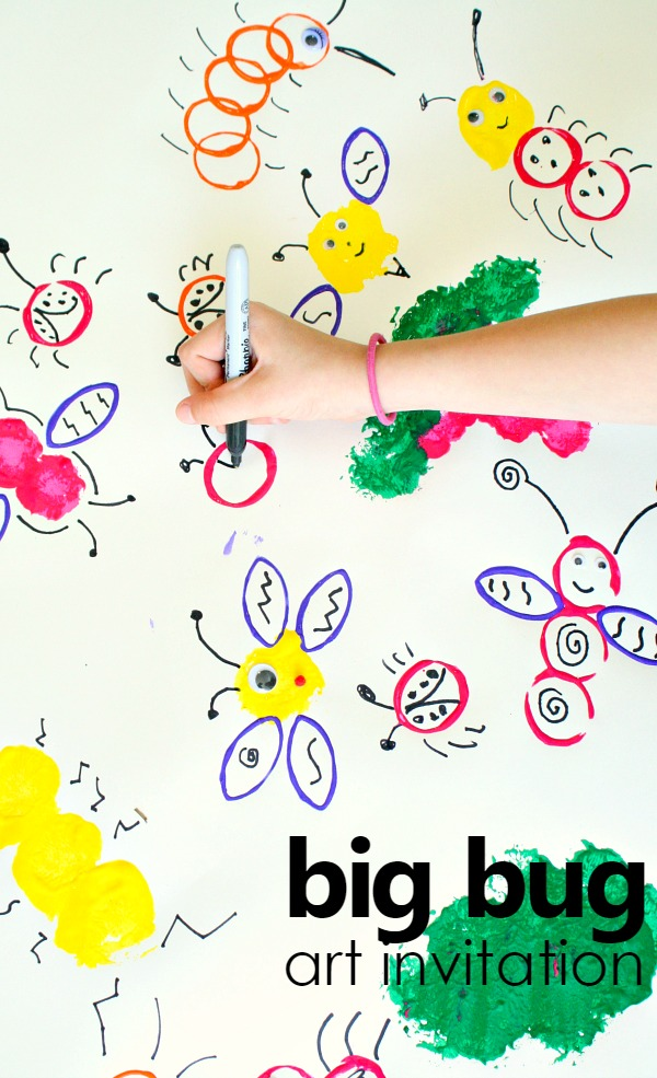 big bug collaborative art invitation. spring art activity for kids