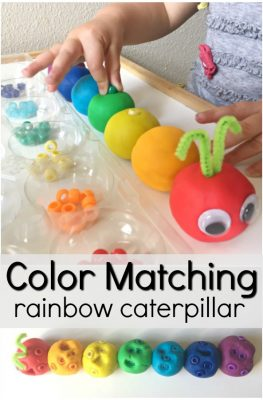 Rainbow Play Dough Color Matching Activity-Toddler and preschool fine motor activity. Perfect for your preschool insect or butterfly theme for spring