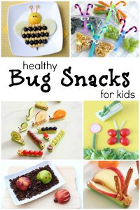 Bug Theme Healthy Snacks for Kids--These are the CUTEST healthy snacks. Perfect for spring! And a great addition to our preschool insect theme