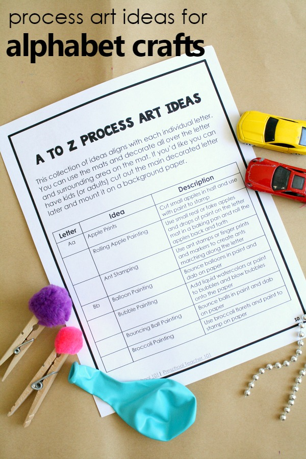 A to Z Process art ideas for preschool alphabet crafts