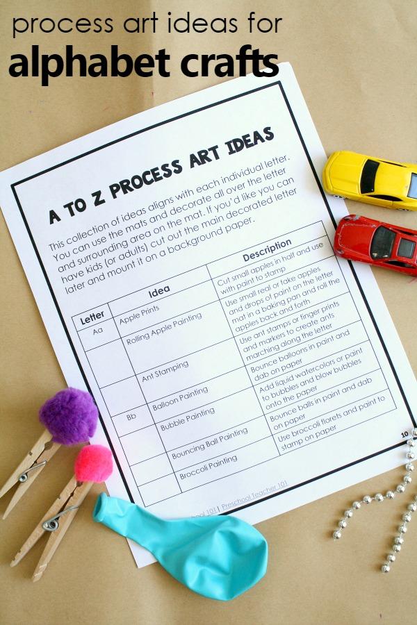 A to Z Process art ideas for preschool alphabet crafts