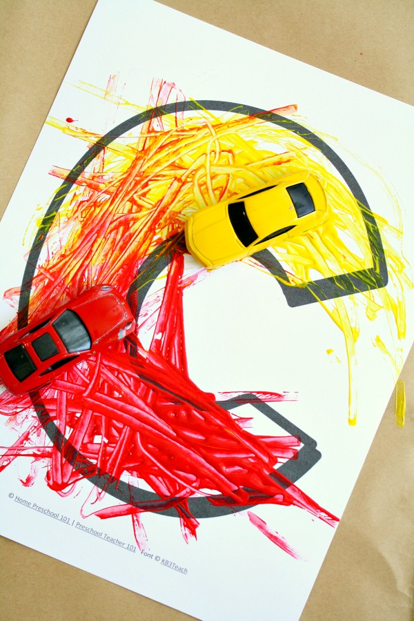 Car Painting Process Art Letter C Craft for Preschool