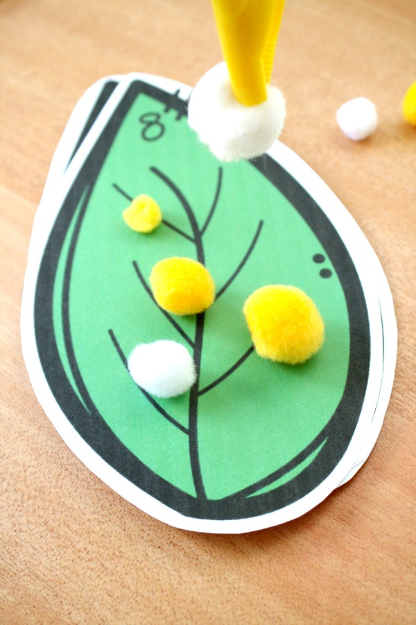 Counting caterpillar eggs preschool math