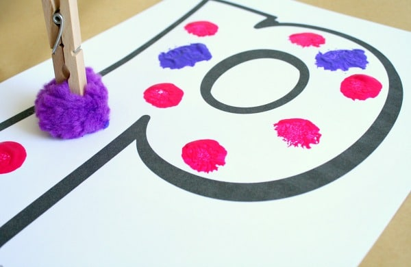 P is for Pom Pom Painting Letter P Craft
