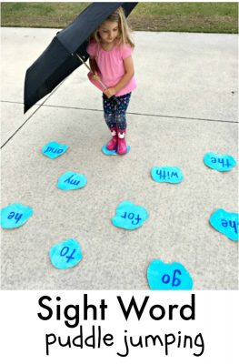 Puddle Jumping Sight Word Game for preschool and kindergarten spring reading fun!
