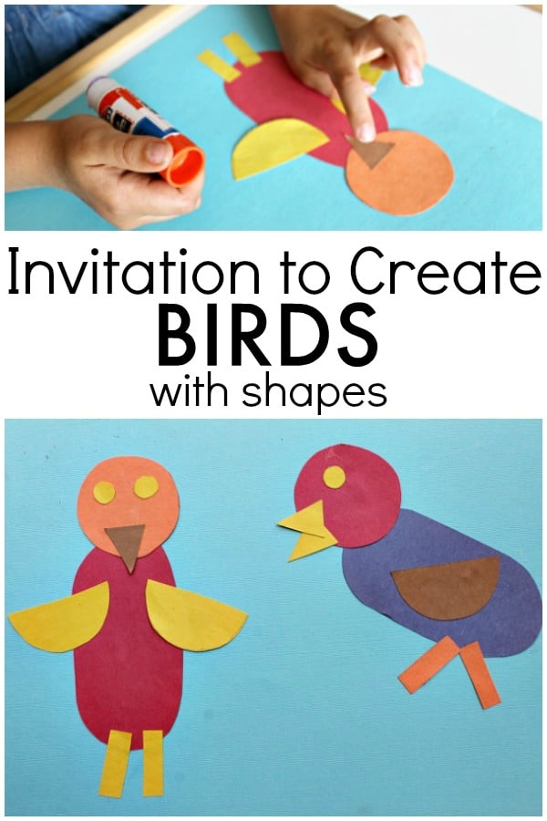 Create bird art with 2D Shapes. Help preschoolers and kindergarteners learn to create new things out of shapes with this bird theme idea