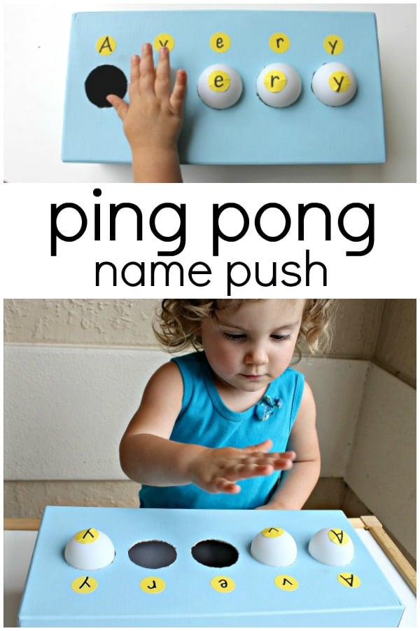 Ping Pong Push Name Recognition Activity for Toddlers and Preschoolers