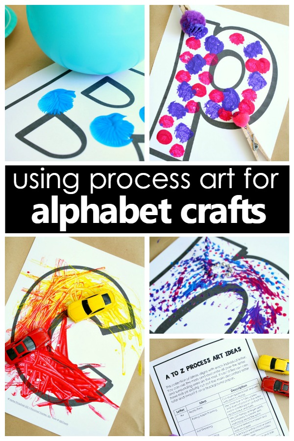 Using process art for alphabet crafts to combine art and letter recognition in preschool. Creative alphabet art projects to turn into alphabet crafts for preschoolers #alphabet #prek #kidsactivities