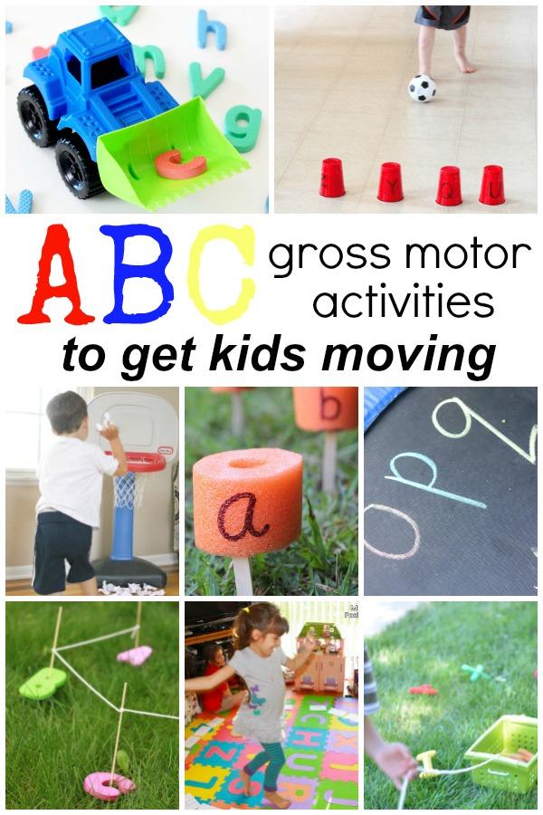 Gross motor alphabet activities. Get moving as you practice the ABCs with preschoolers and kindergarteners