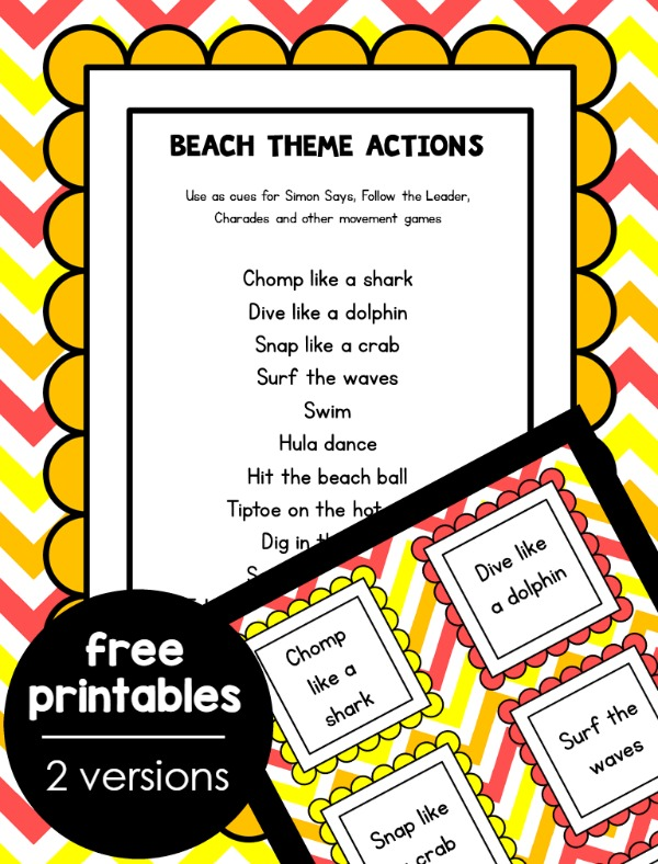 Sea Life Action Game Free Printable for Ocean Theme Gross Motor Fun