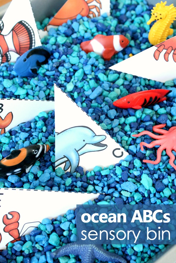 Ocean Theme Alphabet Sensory Play and Free Printable ABC Matching Cards