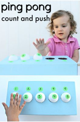 Ping Pong Count and Push preschool math counting and number recognition activity