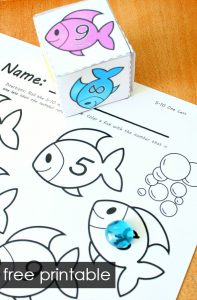 These fish theme roll and color math games are so much fun for kids! Great for practicing number senses, counting, shapes, number words and more in preschool and kindergarten