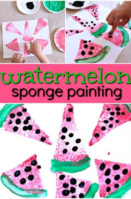 Watermelon Sponge Painting Preschool Art for a Summer Watermelon Theme