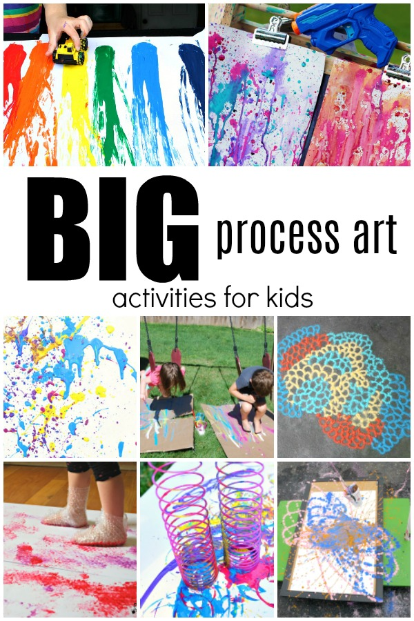 BIG Process Art Activities for Kids. Art projects that are great for outdoor and collaborative art!