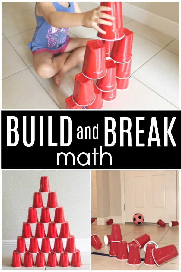 Build and Break Math STEM Activity. So much fun for counting and experimenting with force and motion
