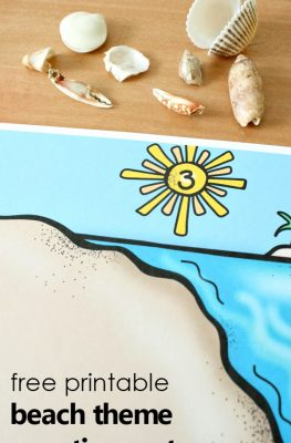 Add some hands-on math play to your preschool beach theme with these free printable seashell counting mats