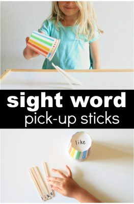 Sight Word Pick-Up Sticks Game for Kindergarten and First Grade