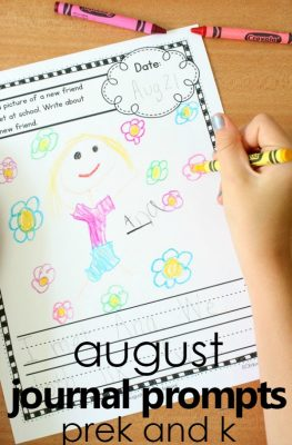 August Journal Prompts for Preschool and Kindergarten--includes 25 prompts about seasonal and nonseasonal ideas
