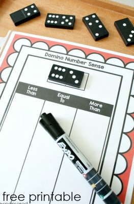 Free Printable Domino Number Sense Math Activity-These make a great dry erase math center activity for kindergarten and first grade