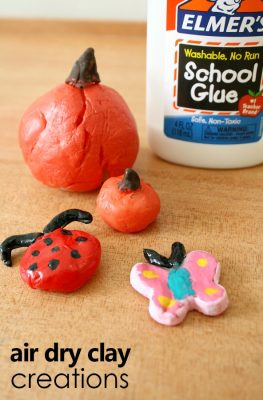 Air Dry Clay Creations-Make your own air dry clay with this easy recipe. Then invite kids to make their own creations. (sponsored)