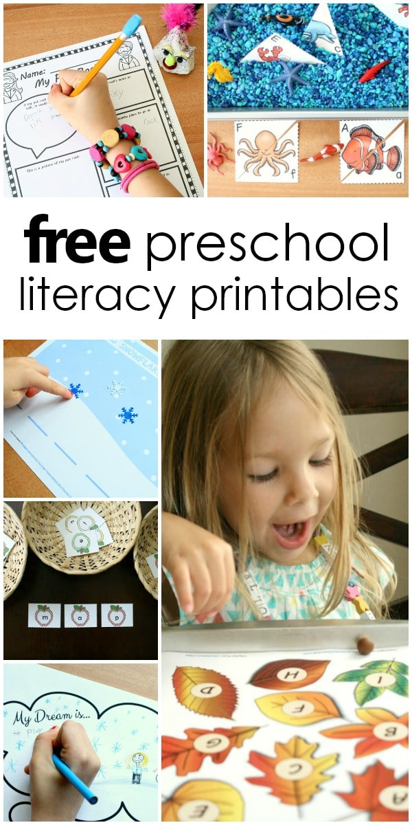 free preschool and kindergarten literacy printables with activities for letter recogntion, beginning sounds, phoneme segmentation, writing and more