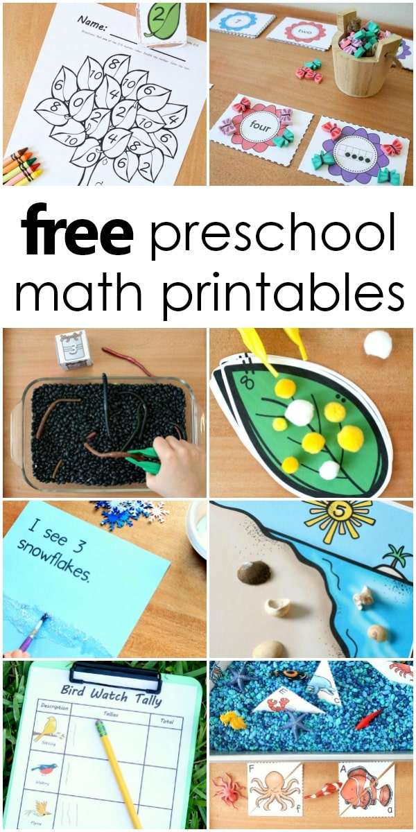 free preschool and kindergarten math printables with activities for counting, measurement, addition and more