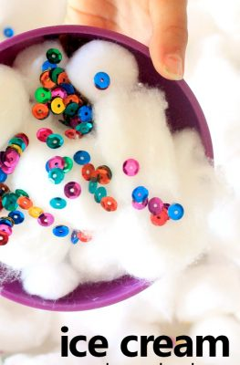ice cream pretend play sensory bin